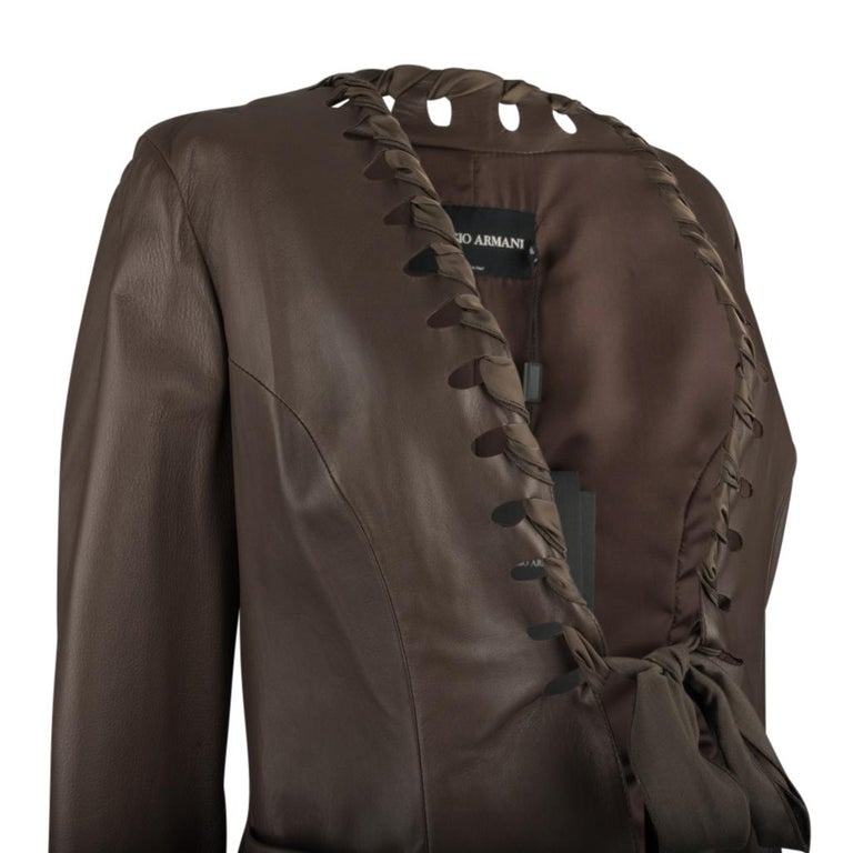 Giorgio Armani Leather Jacket Ribbon Detail Medium Brown 44 / 8 New