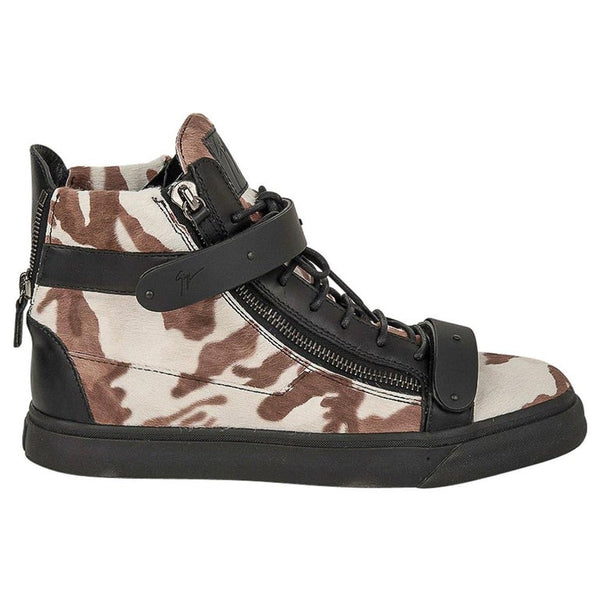 Giuseppe Zanotti Men's Camo Calf Hair Sneakers Black Leather 44 / 11