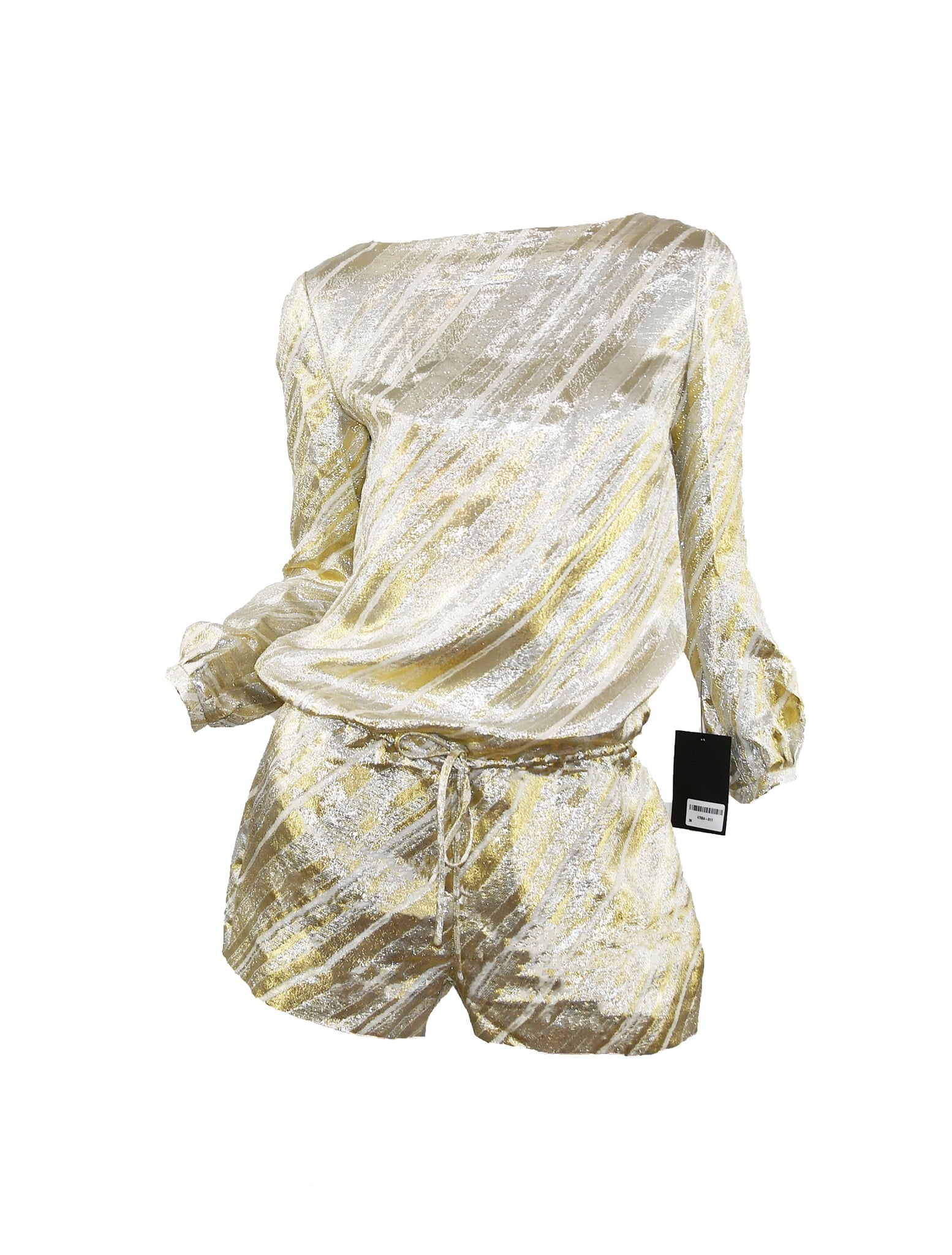 Azzaro Metallic Gold & Silver Striped Romper