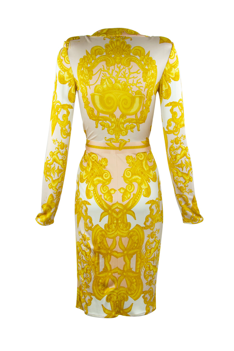 Versace White, Gold & Light Pink Silk Jersey Wrap Dress