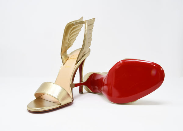 Christian Louboutin Samotresse 100 Nappa Laminata Wings Gold Pumps