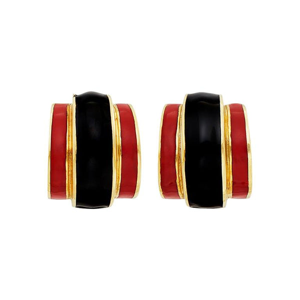 Gold and Black and Red Enamel Half-Hoop Earclips