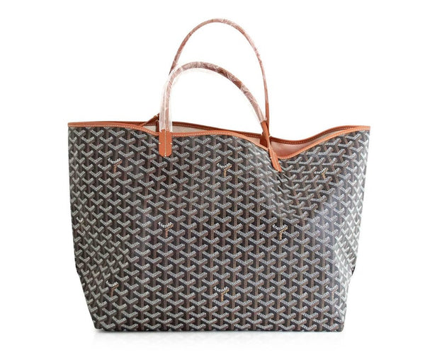 Goyard Saint Louis GM Bag Black Chevron Tote British Tan Detail