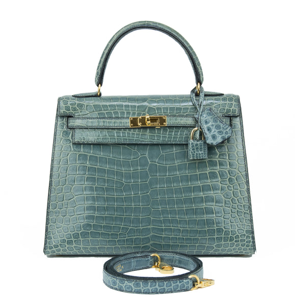 Hermes Kelly Sellier Bag 25cm Blue Jean Crocodile with Gold Hardware