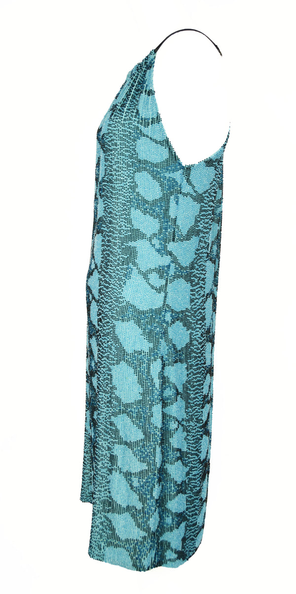 Gucci Blue & Green Beaded Dress with Leather Straps