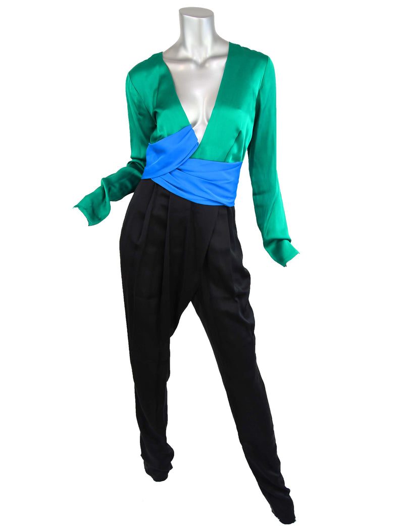Gucci Color Blocked Silk Jumpsuit