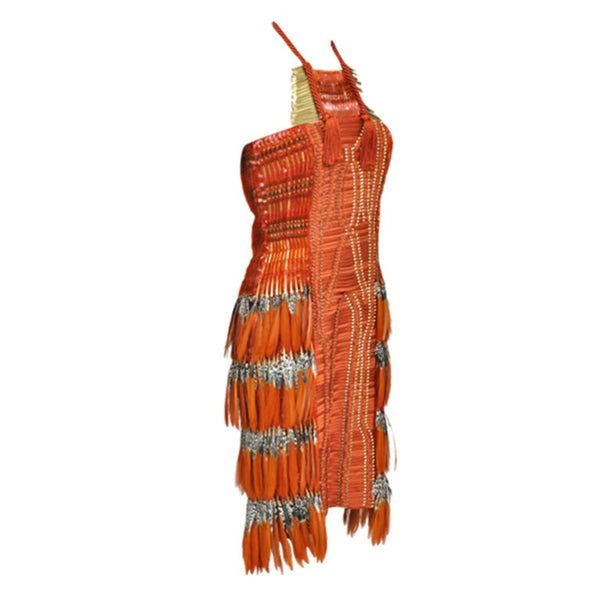 New Gucci Embroidered Orange Dress with Feathers