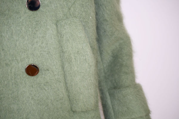 Gucci Sage Green Double Breasted Coat with Silver Buttons