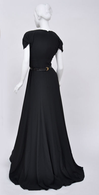 Vintage Black Gucci  Gown with Patent Leather Belt and Crystals