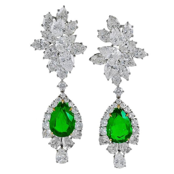 Harry Winston Emerald Diamond Cluster Pendant Earrings