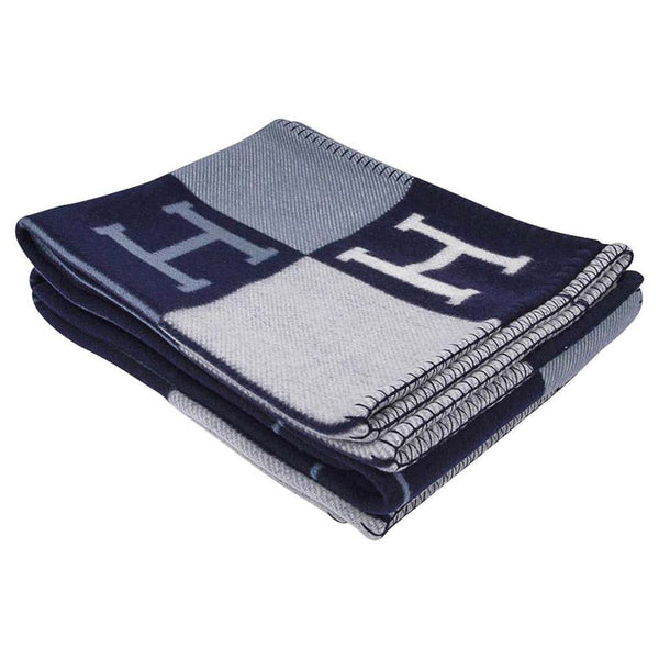 Hermes Blanket Avalon I Signature H Blue Throw New w/Box