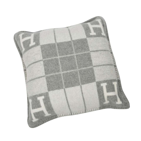 Hermes Cushion Avalon III PM H Ecru Gris Clair Throw Pillow Set of Two