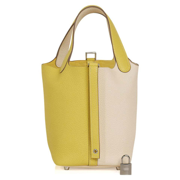 Hermes Picotin Lock 18 Bag Lime / Nata Bi-Color Tote Clemence Palladium