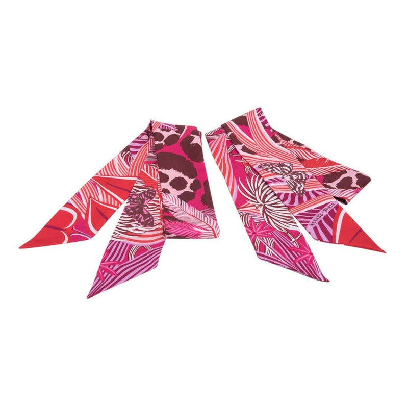 Hermes Twilly Silk Jaguar Quetzal Fuchsia Rose Bordeaux Set of 2