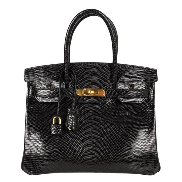 Hermes 30 Birkin Bag Black Lizard Gold Hardware RARE