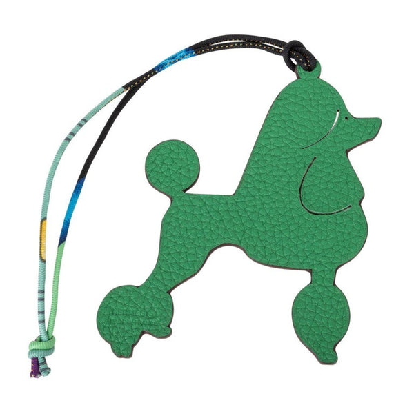 Hermes Bag Charm Royal Poodle Dog Petite h Bi-Color Green Orange new