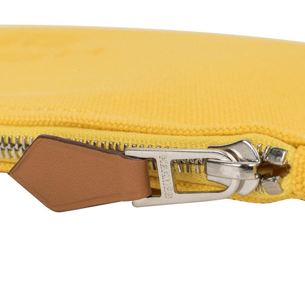 Hermes Bain Flat Yachting Pouch Case Jaune Cotton Large