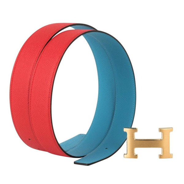 Hermes Belt H Constance 32 mm Rouge Coeur / Blue De Nord Epsom Brushed Gold 95
