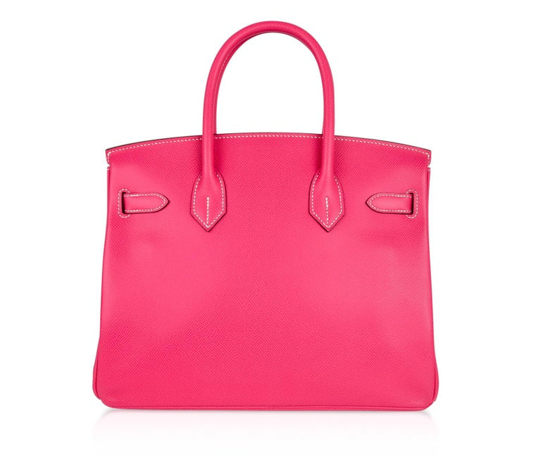 Hermes Birkin 30 Bag Limited Edition Rose Tyrien Candy Epsom Palladium
