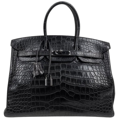 Hermes Birkin 35 Bag So Black Matte Alligator Black Hardware Limited Edition