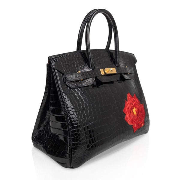 Hermes Birkin 35 HSS Porosus Crocodile Black Red Dewdrop Rose One of a Kind