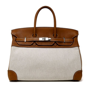 Hermes Birkin Bag 35cm Toile Bicolor with Palladium Hardware