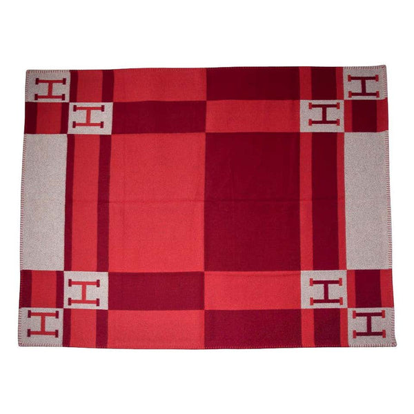 Hermes Blanket Avalon Bayadere Rouge Throw Blanket New w/ Box