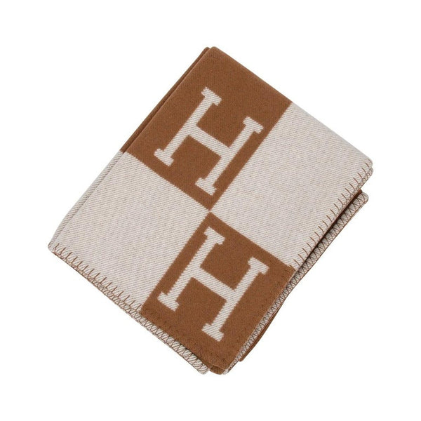 Hermes Blanket Avalon III Signature H Camel and Ecru Throw