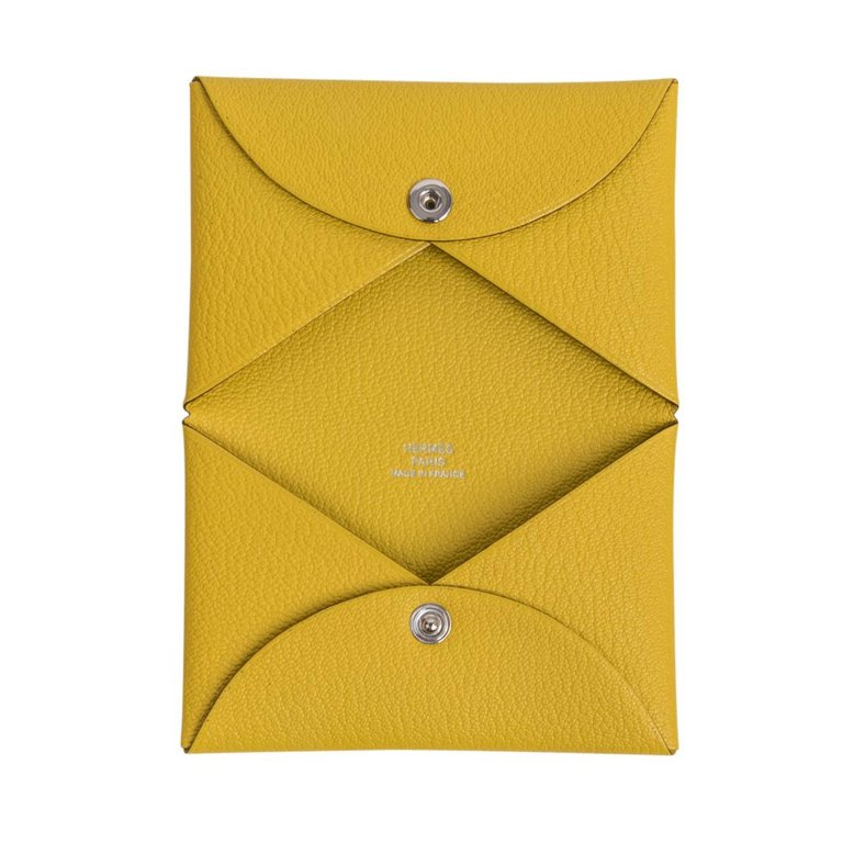 Hermes Calvi Jaune de Naples Mysore Chevre Leather Card Holder