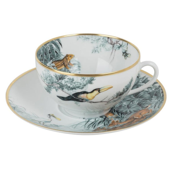 Hermes Carnets D'Equateur Breakfast Cup and Saucer Porcelain Set of 2