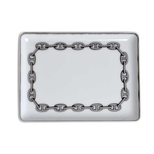 Hermes Chaine D'Ancre Platinum Tray Sushi Plate Porcelain