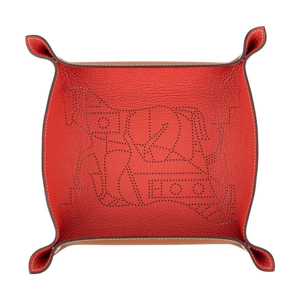 Hermes Change Tray Double Horse Mises Et Relances Tuile / Fauve New w/ Box