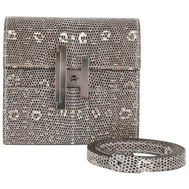 Hermes Cinhetic Mini Wallet Ombre Lizard Clutch Shoulder Bag
