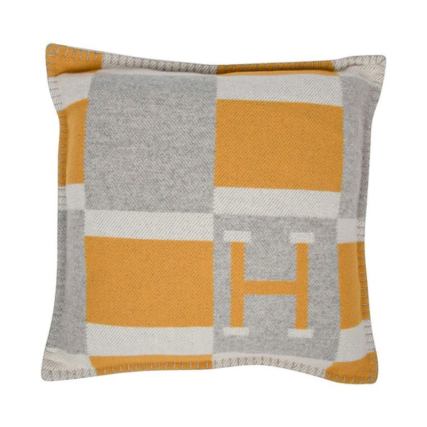 Hermes Cushion Avalon Bayadere PM Throw Pillow Jaune / Gris Claire