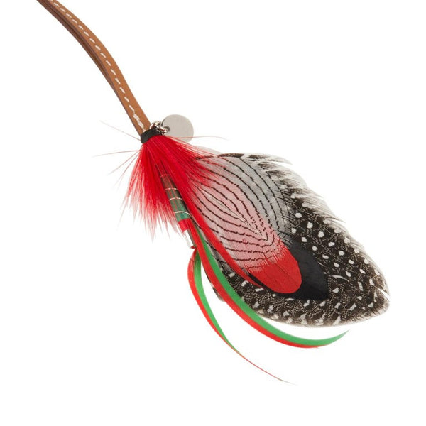 Hermes Gri Gri Mouche Fly Feather Bag Charm Red Black Gray