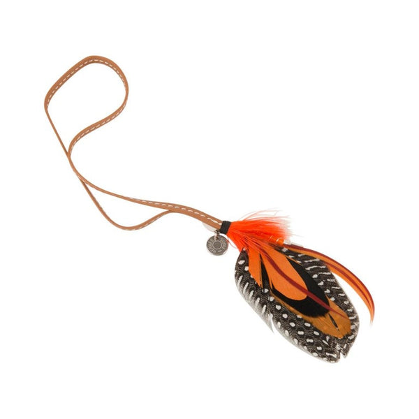 Hermes Grigri Mouche Fly Feather Bag Charm Orange Brick Black Gray