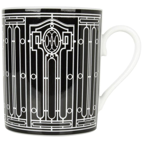 Hermes H Deco Mugs Black w/ White Set of 4