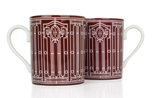 Hermes H Deco Mugs Rouge with White Set of 2