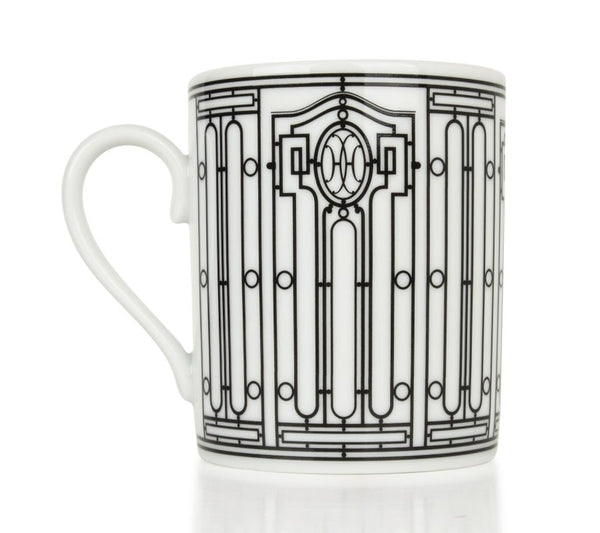 Hermes H Deco Mugs White and Black Set of Four new