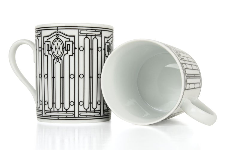 Hermes H Deco Mugs White and Black Set of Two new