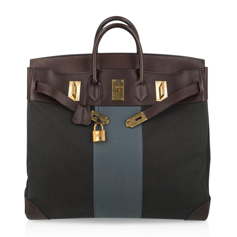 Hermes Hac 50 Flag Toile Ebene Evercalf Leather Brass Hardware