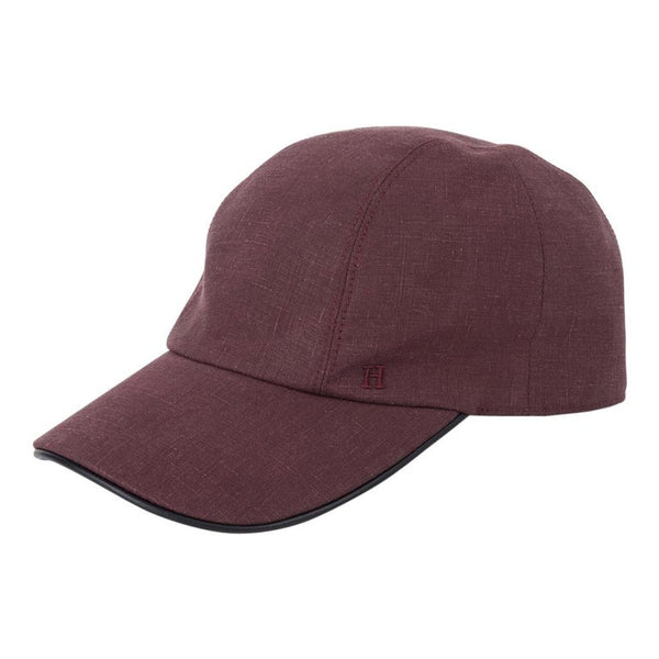 Hermes Hat Men's Miles Cap Linen Rose Grise Trim Leather Marine 60