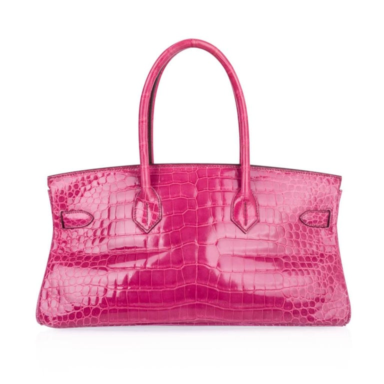 Hermes JPG Shoulder Birkin 42 Bag Fuchsia Porosus Crocodile Bag Limited Edition