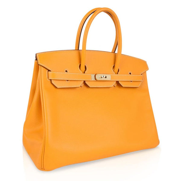 Hermes Jaune D'Or Yellow Candy Limited Edition Epsom Permabrass Birkin 35 Bag