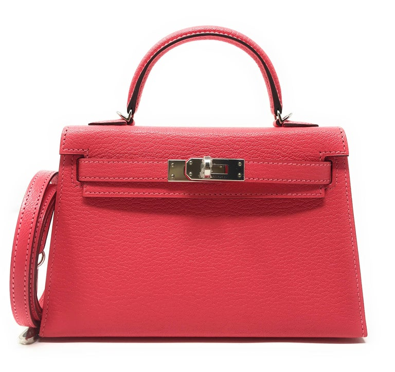 Hermes Kelly 20 Mini Kelly II Rose Lipstick Chevre Palladium VIP Limited Edition