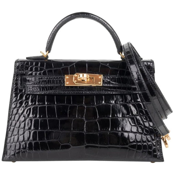 Hermes Kelly 20 Mini Sellier Black Alligator Gold Hardware Limited Edition