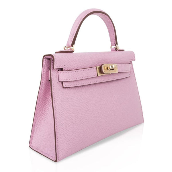 Hermes Kelly 20 Sellier Mini Kelly II Mauve Sylvestre Epsom Permabrass Hardware