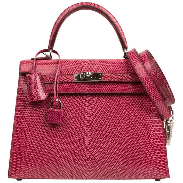 Hermes Kelly 25 Bag Sellier Fuschia Pink Lizard Palladium