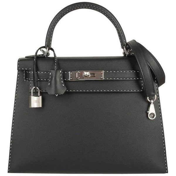Hermes Kelly 28 Bag Black Un Point Sur Deux Veau Graine Monsieur Limited Edition
