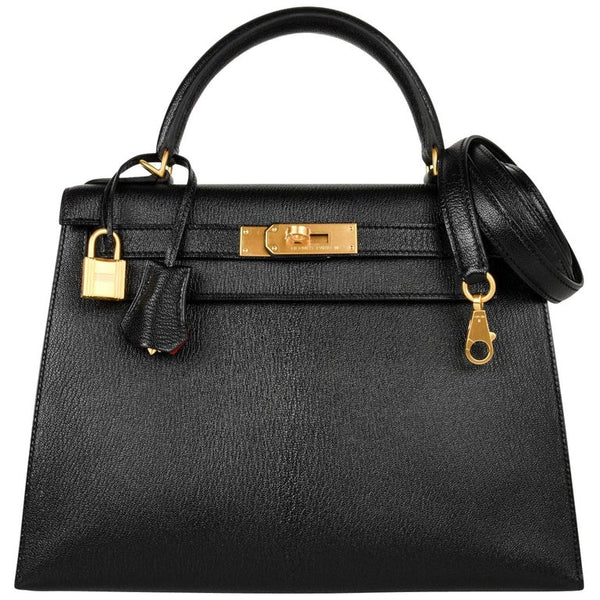 Hermes Kelly 28 Bag HSS Sellier Black/Vermillion Interior Chevre Brushed Gold